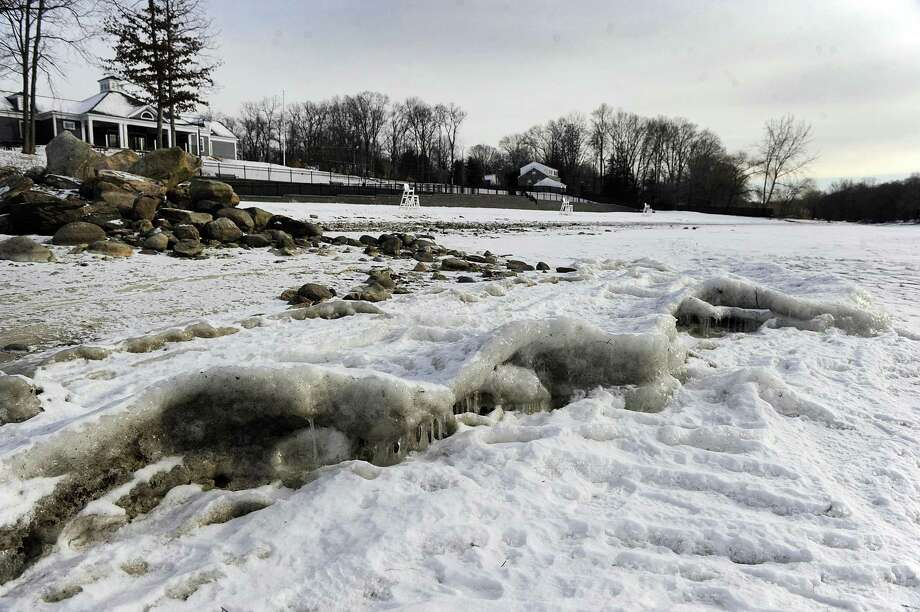 Chppy ice formations line the shore of Candlewood lake at the Brookfield Town Park beach Tuesday, Jan. 2, 2017. Photo: Carol Kaliff / Hearst Connecticut Media / The News-Times