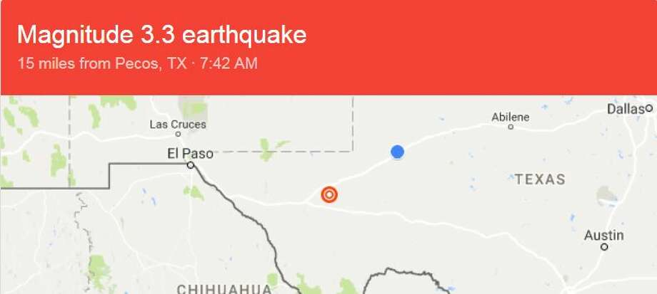 Less than two full days into the new year, the U.S. Geological Survey recorded an earthquake in the Pecos region Photo: Google