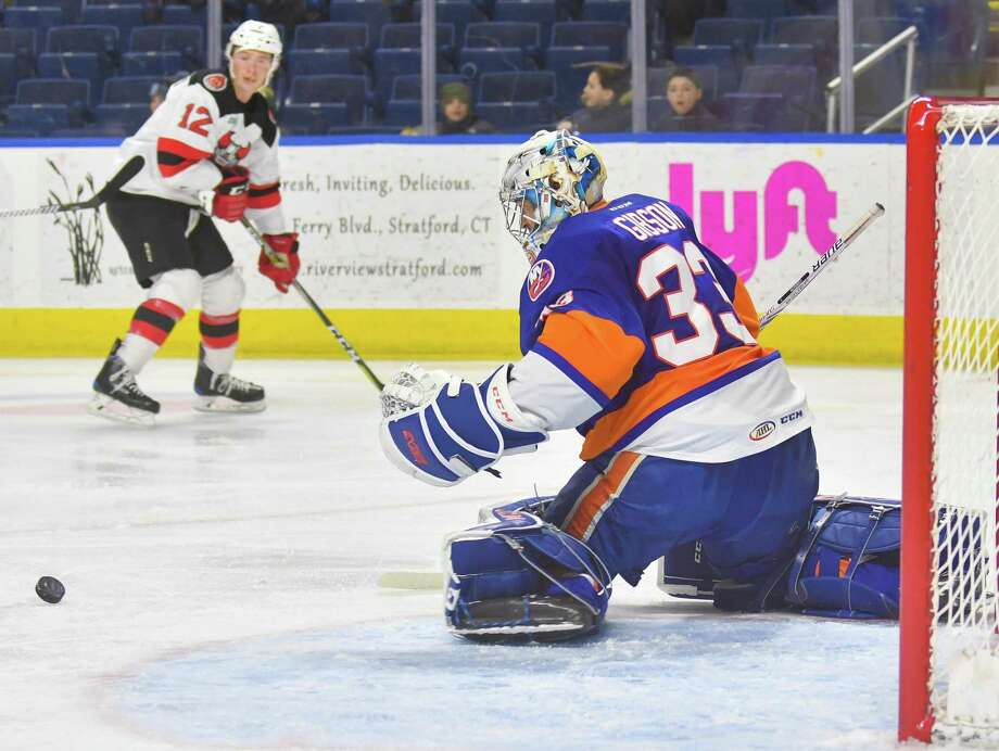 A good penalty kill for the Sound Tigers, says forward Connor Jones, starts with goalies Christopher Gibson, pictured, and Kristers Gudlevski. Photo: Gregory Vasil / For Hearst Connecticut Media / Connecticut Post Freelance