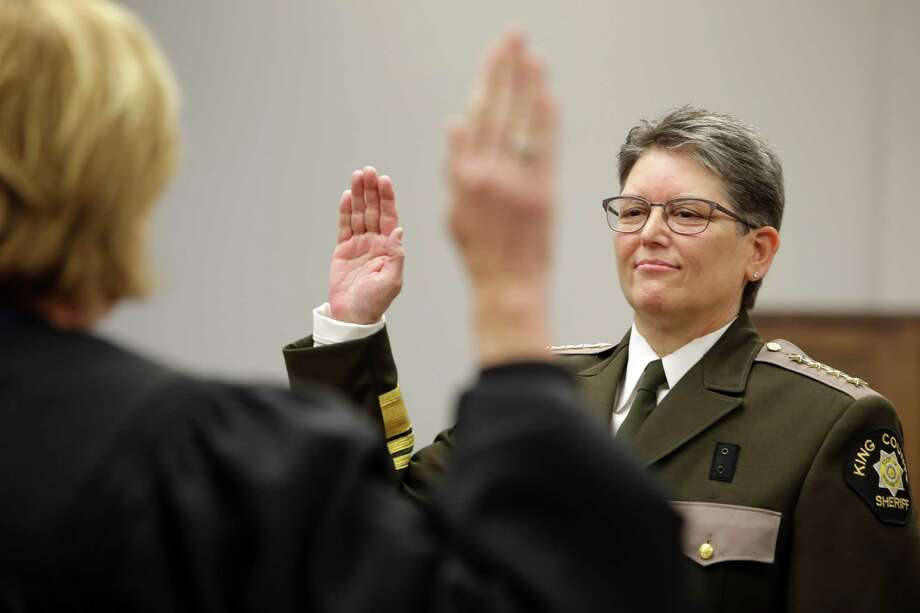 Mitzi Johanknecht is sworn in as King County Sheriff, Tuesday, Jan. 2, 2018 in Seattle. Johanknecht, a veteran of the force, defeated incumbent Sheriff John Urquhart in November. Photo: GENNA MARTIN, SEATTLEPI.COM / Seattlepi.com