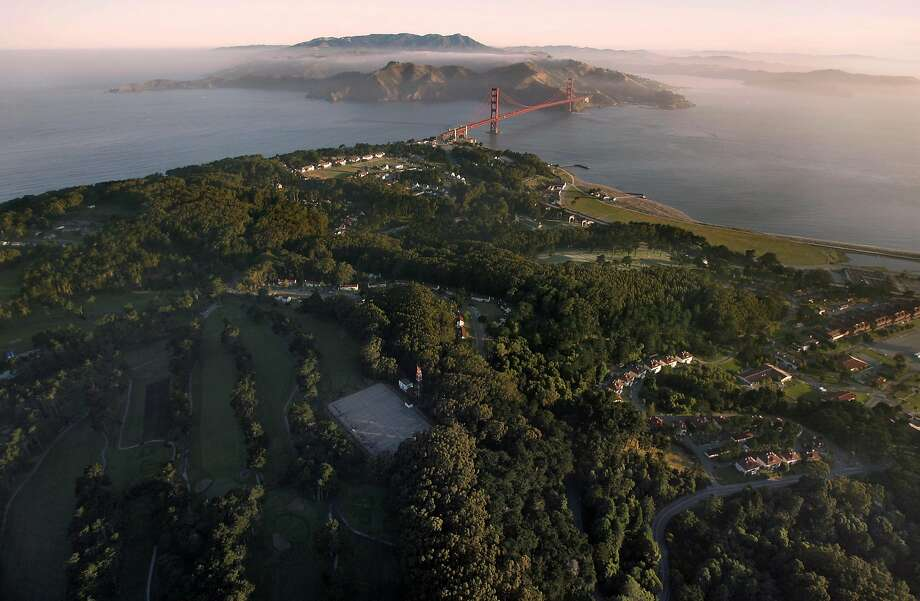 presidioaerial_002_db.jpg Aerial view of Presidio early morning with the Golden Gate Bridge in the background. Event on 6/15/05 in San Francisco. Darryl Bush / The Chronicle Ran on: 06-19-2005 The Presidio, viewed from a helicopter above the former Army base, reaches northwest toward the Golden Gate and the Marin Headlands. Ran on: 06-19-2005 The Presidio, viewed from a helicopter above the former Army base, reaches northwest toward the Golden Gate and the Marin Headlands. Photo: Darryl Bush, SFC