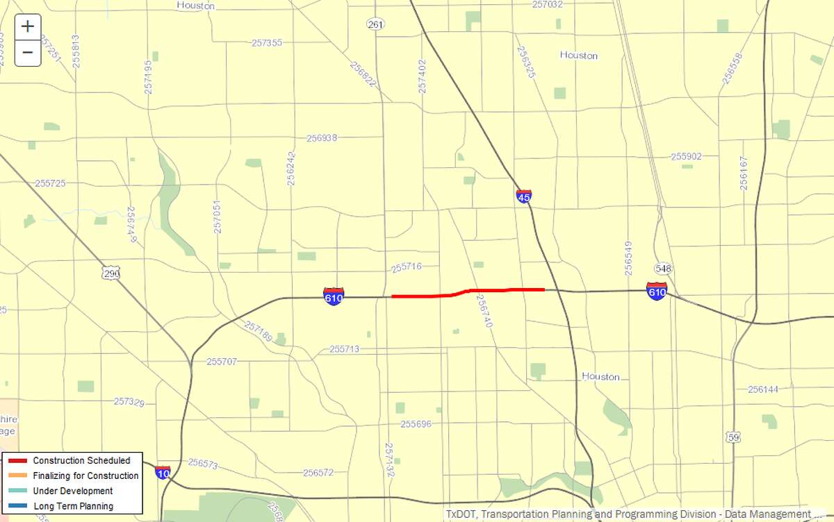 Reconstruction of frontage roads on stretch of 610 Description:Reconstruction of frontage roads from Shepherd Dr. to east of Airline Dr. on 610 Where: 610 loop, north Houston Estimated cost:$7.7 million Estimated completion:October 2018