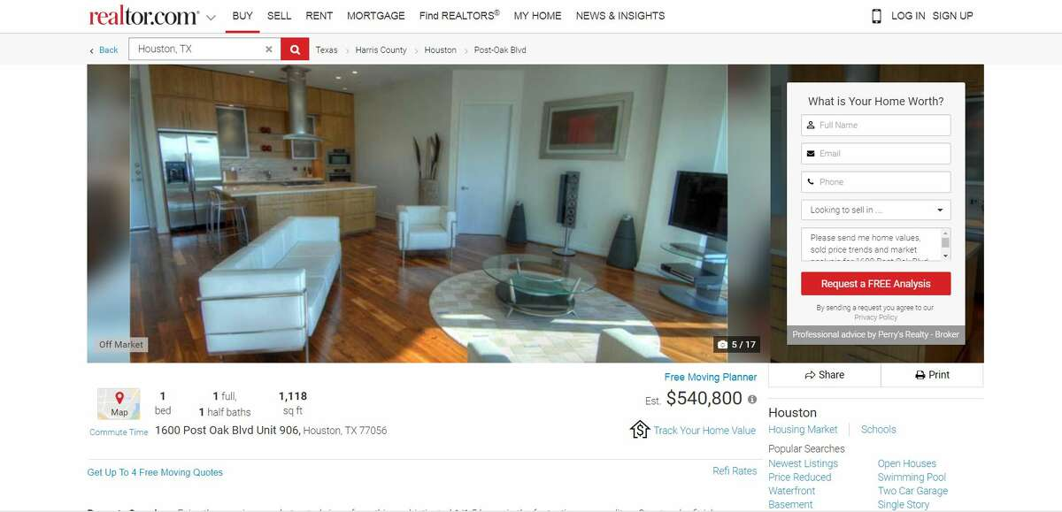 A screen grab from the website realtor.com shows the kitchen and living area inside a Houston condominium unit purchased in 2011 by the charter school network Accelerated Intermediate Academy. School leaders used $427,238 in taxpayer money to buy the one-bedroom condominium, a purchase that charter school experts described as highly unusual.