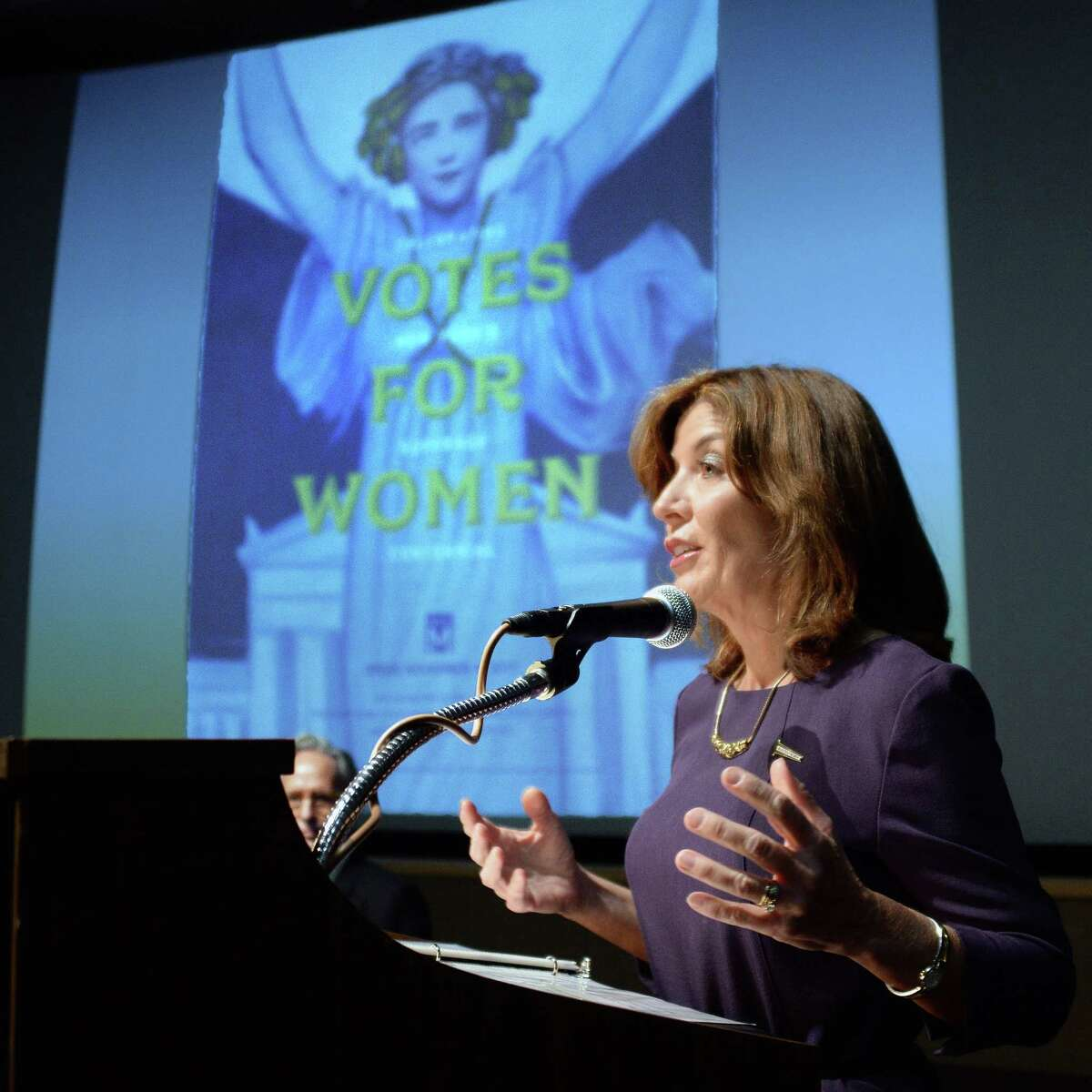 Chair of the State Women?'s Suffrage Commission Lieutenant Governor Kathy Hochul speaks during a special exhibition preview of the State Museum?'s newest exhibition honoring the 100th anniversary of women?'s right to vote in New York at the NY State Museum Wednesday Nov. 1, 2017 in Albany, NY. (John Carl D'Annibale / Times Union)