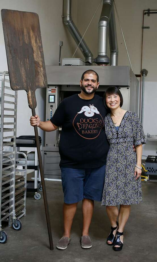 Bakery owners Mina Makram (left) and Kim Sullivan at their Ducks & Dragons bakery in San Carlos. Photo: Liz Hafalia, The Chronicle