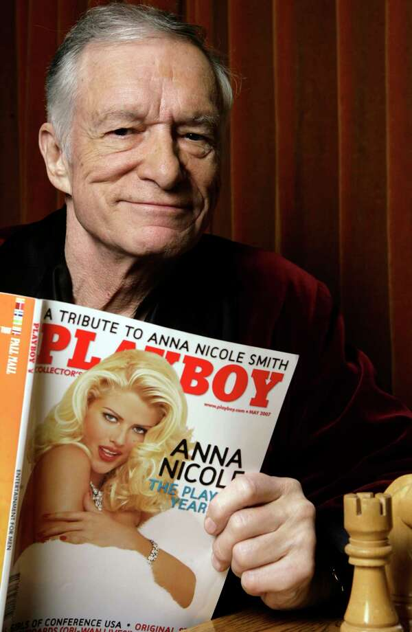 Playboy's Hugh Hefner, shown in 2007, displays a copy of his magazine. He died last year.  Photo: Damian Dovarganes, STF / Copyright 2016 The Associated Press. All rights reserved.
