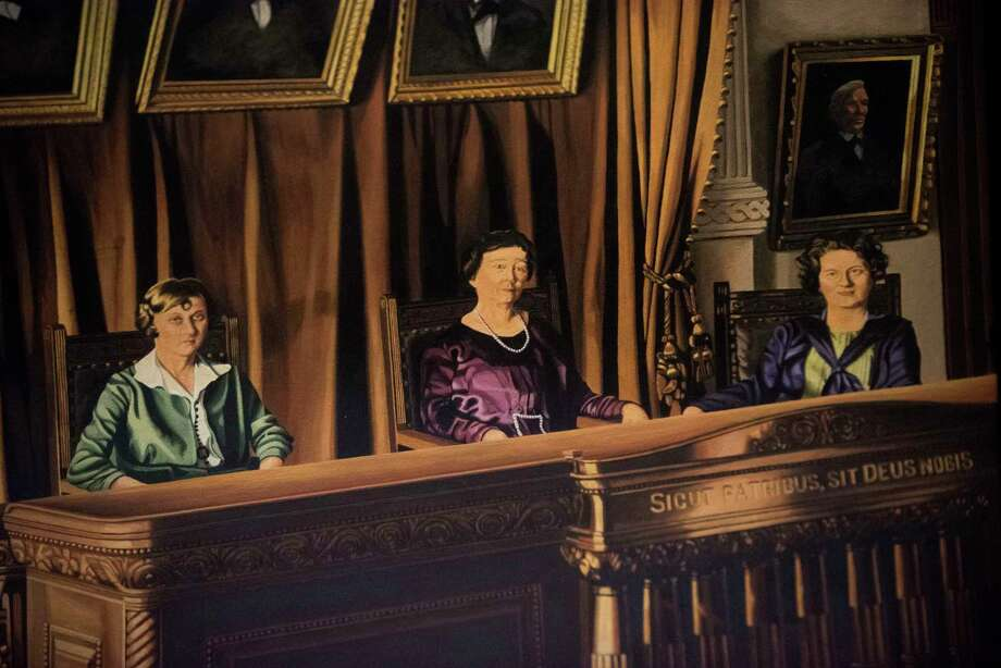 A painting in the Texas Supreme Court depicts, from left, Hattie Henenberg, Hortense Ward and Ruth Brazzil, empaneled in 1925 to hear a case in which the male justices had a conflict of interest. Photo: Billy Calzada, Staff / San Antonio Express-News