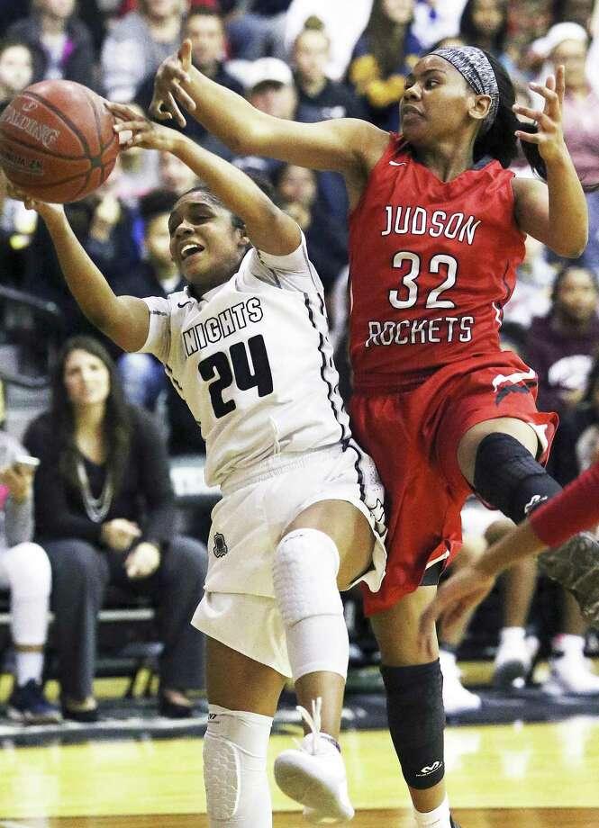 Knight guard Desiree Caldwell yanks down a defensive rebound away from Desiree Lewis as Steele hosts Judson in girls basketball on January 2, 2018 Photo: Tom Reel, Staff / San Antonio Express-News / 2017 SAN ANTONIO EXPRESS-NEWS
