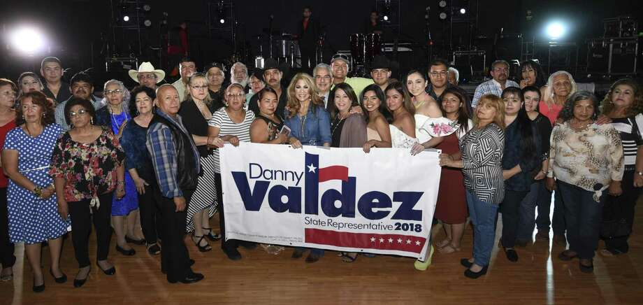 Danny Valdez poses for a photo with his banner on Friday, Oct. 6, 2017, as Valdez announces his candidacy for State Representative in 2018, at the Casablanca Ballroom. Photo: Danny Zaragoza, Staff Photographer / Laredo Morning Times