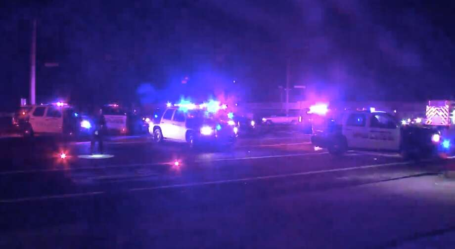Two people are dead after a collision in Humble left a vehicle split in half, police said. Photo: Metro Video