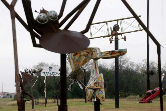 Metal sculptures are shown along 288 near Reed Rd. on the property of Texas Pipe and Supply, 2330 Holmes Road, Tuesday, Dec. 26, 2017, in Houston. ( Melissa Phillip / Houston Chronicle )
