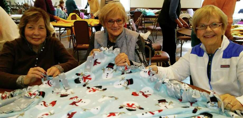 More than 32 no-new blankets were completed by the Woman's Club of Danbury and New Fairfield to reach 300-plus blankets for the patients at Danbury Hospital Cancer Center. Above are club members, from left to right, Betty Gray Brown of Danbury, Joan Mill of New Milford and Peg Cronin of Brookfield. Photo: Courtesy Of Womans Club Of Danbury And New Fairfield / The News-Times Contributed