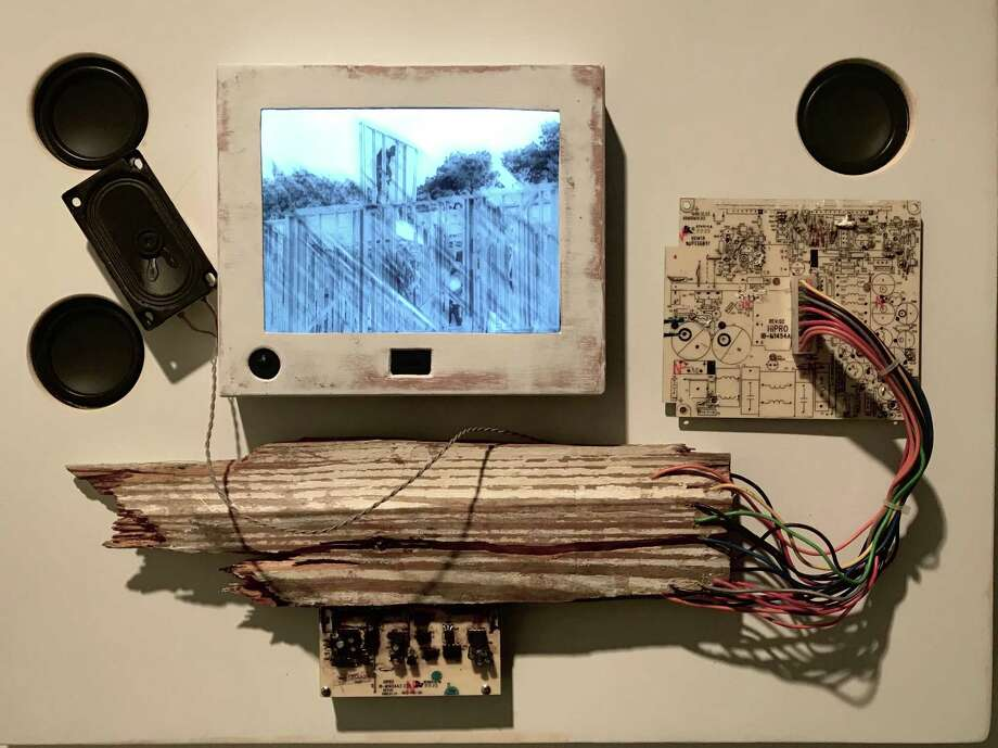"""Gentrification Day"" is one of six motion-activated music boxes by Ross Irwin and Harry Leverette for their installation ""Houston Sinfonia: music for found sound"" at Art League Houston through Jan. 20. Photo: Molly Glentzer"