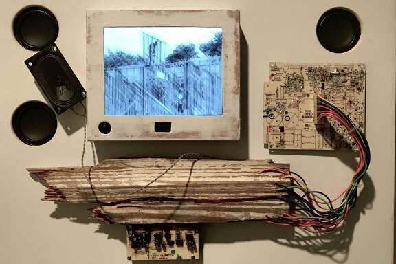 """Gentrification Day"" is one of six motion-activated music boxes by Ross Irwin and Harry Leverette for their installation ""Houston Sinfonia: music for found sound"" at Art League Houston through Jan. 20."