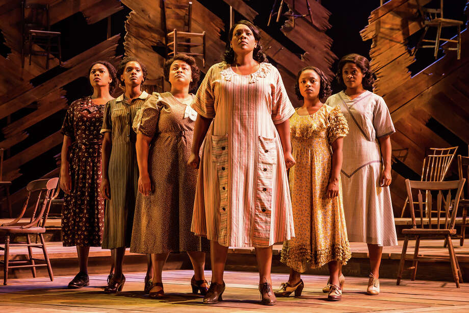Adrianna Hicks (Celie) and N'Jameh Camara (Nettie) and the North American tour cast of The Color Purple. Photo: Matthew Murphy