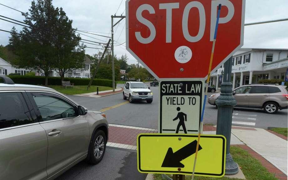 One of the crosswalks on River Road Wednesday,  September 6, 2017, in Wilton, Conn. Photo: Erik Trautmann / Hearst Connecticut Media / Norwalk Hour