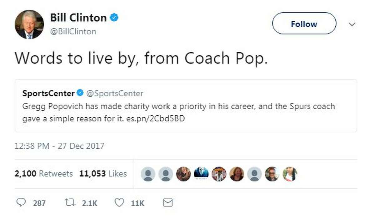 Bill Clinton retweeted a story about Spurs Coach Gregg Popovich's quote about why it's important to give back, with his own take: