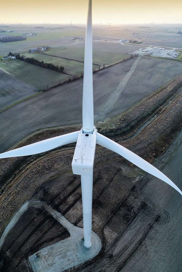 Pictured is a wind turbine located between Owendale and Sebewaing. The entire wind mill is captured in a six-stitch panoramic image. (Tyler Leipprandt, Michigan Sky Media/For the Tribune)