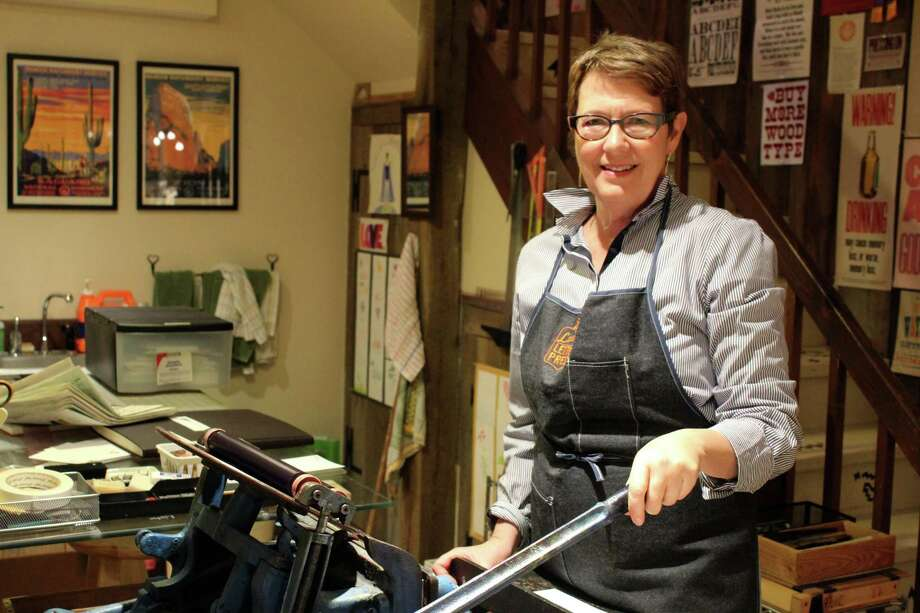 Lynda Campbell opened her print shop, Saltbox Press, in the basement of her home on Ridgefield Road. Photo: Stephanie Kim / Hearst Connecticut Media