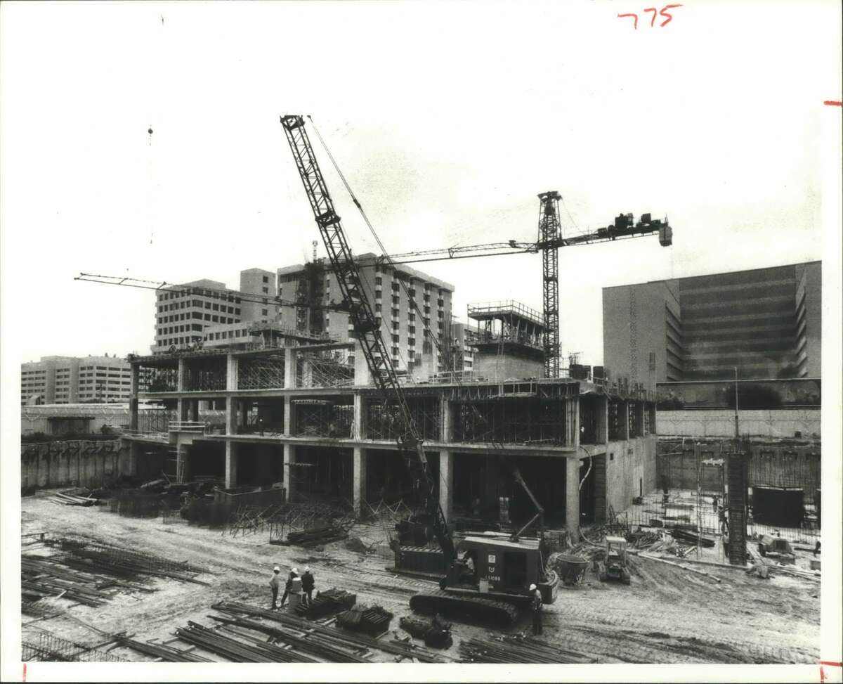 1978 - Methodist Hospital's Total Health Care Center appears off to a healthy start as steel and concrete framing for the 21-story tower begins to rise in the 6500 block of Fannin. The building's 560,000 square feet of space will include provisions for doctors offices and the hospitals diagnostic and therapeutic services slated for mid-1979.
