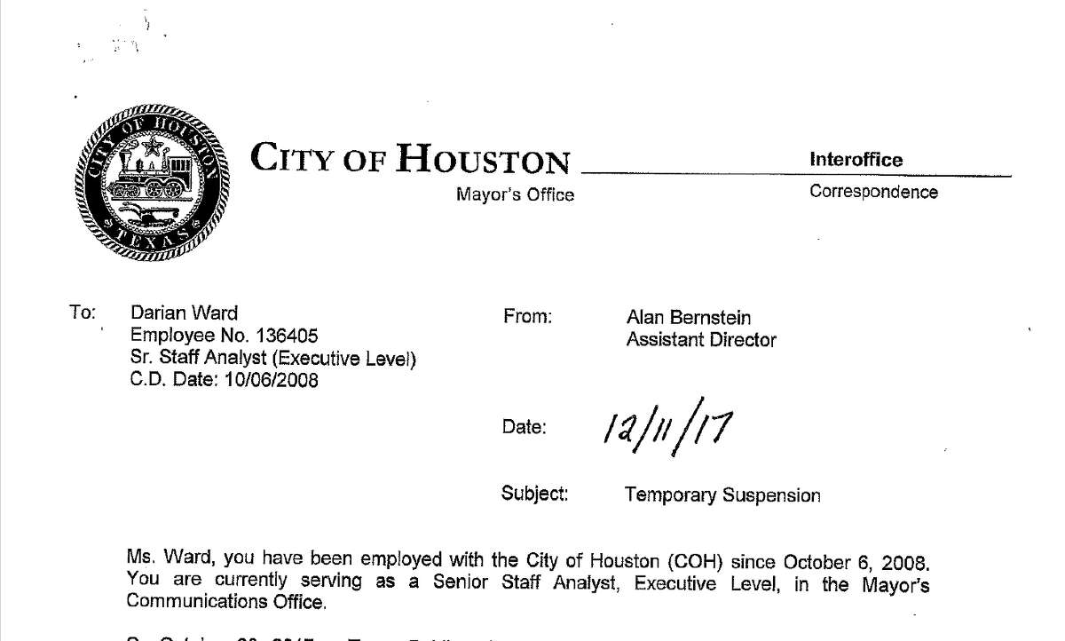 A screenshot of Darian Ward's suspension letter, detailing accusations of using city time to conduct personal business and failing to turn over public records to a journalist.
