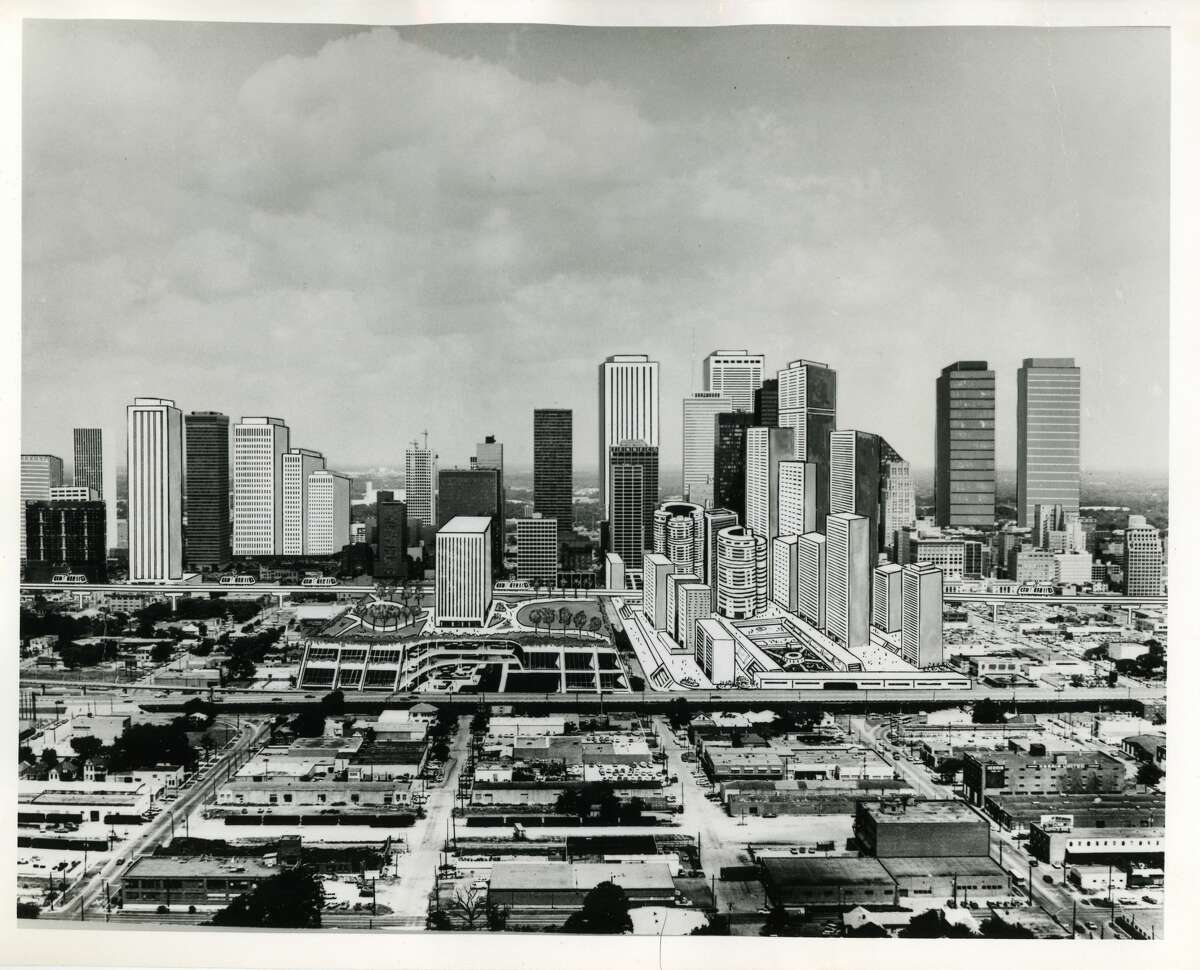1978 - This artistic interpretation of new buildings to be added to downtown Houston by the year 2000 (looking west across the Eastex Freeway) was adapted from information obtained by Post real estate writer Carl Hooper and Post Business Editor Gerald Egger from various sources around the United States. In all likelihood, new skyscrapers in addition to those shown here, will be designed and constructed during the next two decades. Note: Compare this to the current skyline...