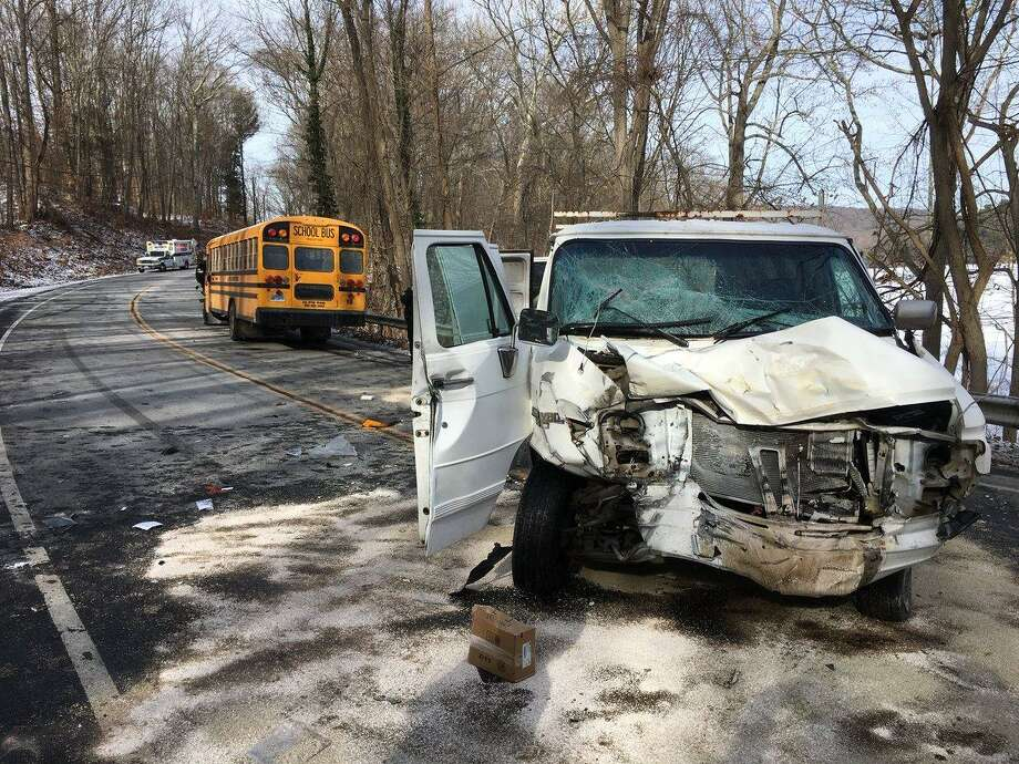 An accident involving a school bus and a motor vehicle closed Route 34 in Monroe on Wednesday, Dec. 3, 2018. Photo: /