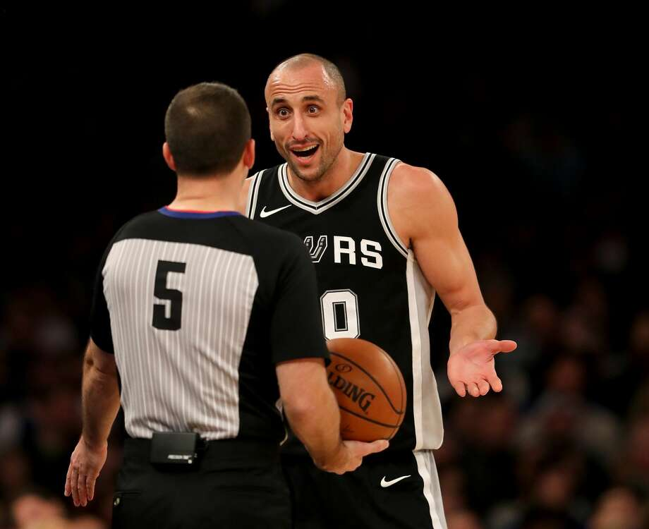 NEW YORK, NEW YORK - JANUARY 02:    Manu Ginobili #20 of the San Antonio Spurs reacts after his basket was initially not counted in the second half against the New York Knicks at Madison Square Garden on January 02, 2018 in New York City. NOTE TO USER: User expressly acknowledges and agrees that, by downloading and or using this photograph, User is consenting to the terms and conditions of the Getty Images License Agreement.  (Photo by Elsa/Getty Images) Photo: Elsa/Getty Images