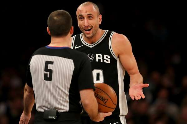 NEW YORK, NEW YORK - JANUARY 02:    Manu Ginobili #20 of the San Antonio Spurs reacts after his basket was initially not counted in the second half against the New York Knicks at Madison Square Garden on January 02, 2018 in New York City. NOTE TO USER: User expressly acknowledges and agrees that, by downloading and or using this photograph, User is consenting to the terms and conditions of the Getty Images License Agreement.  (Photo by Elsa/Getty Images)