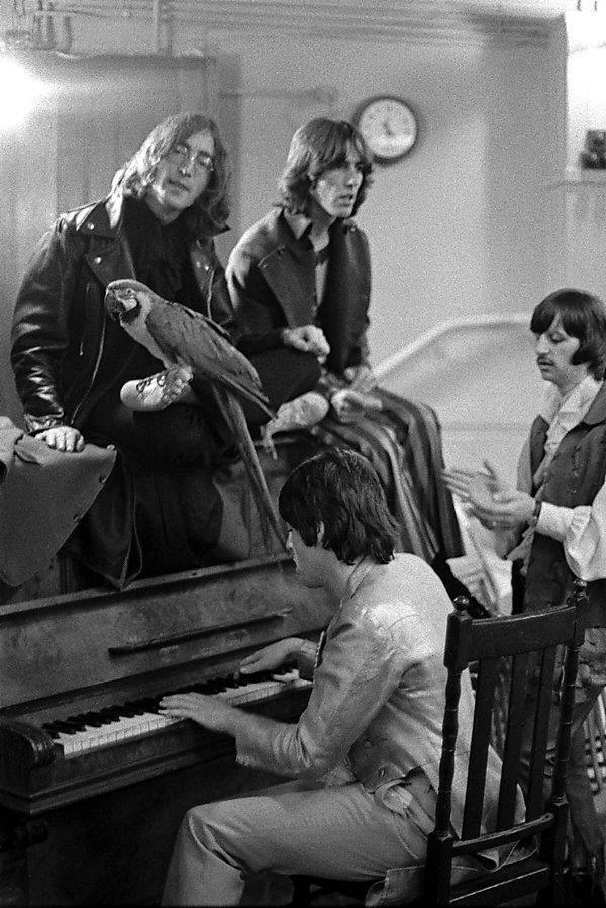 """Goldblatt: """"They had recently recorded �Hey Jude� and so Paul is playing �Hey Jude,� and they�re all singing, and the parrot is just a prop that Paul�s girlfriend brought along. She was the prop girl. It was taken in the Mercury Theatre in Notting Hill."""" Rare Beatles photos at the gallery of the UC Berkeley Graduate School of Business."""