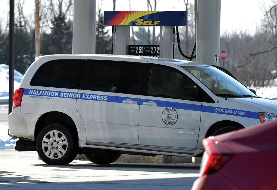 A Town of Halfmoon vehicle fills with gas at the Sunoco gas station across the street from the Town of Halfmoon Highway Department building on Wednesday, Jan. 3, 2018, on Route 46 in Halfmoon, N.Y.  (Will Waldron/Times Union) Photo: Will Waldron, Albany Times Union / 20042560A