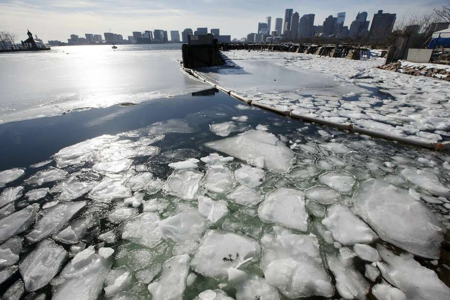 Sea ice floats in Boston Harbor, Wednesday, Jan. 3, 2018, in Boston. After a week of frigid temperatures, a major winter storm is predicted for the region on Thursday. (AP Photo/Michael Dwyer) Photo: Michael Dwyer/AP
