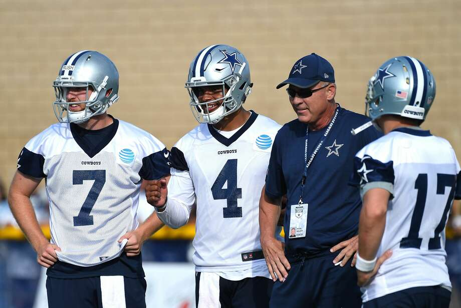 OXNARD, CA - JULY 24:  Dallas Cowboys coach Wade Wilson talks with quarterbacks Cooper Rush #7, Dak Prescott #4 and Kellen Moore #17 at training camp on July 24, 2017 in Oxnard, California.  (Photo by Jayne Kamin-Oncea/Getty Images) Photo: Jayne Kamin-Oncea/Getty Images