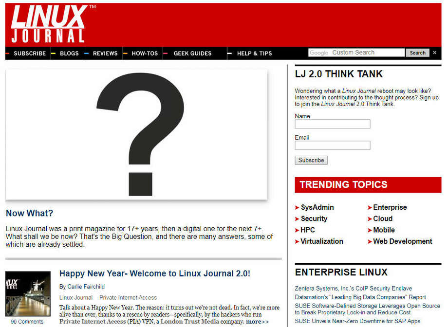 Houston-based Linux Journal has been rescued and reborn, but what will it become? Photo: Houston Chronicle Screenshot