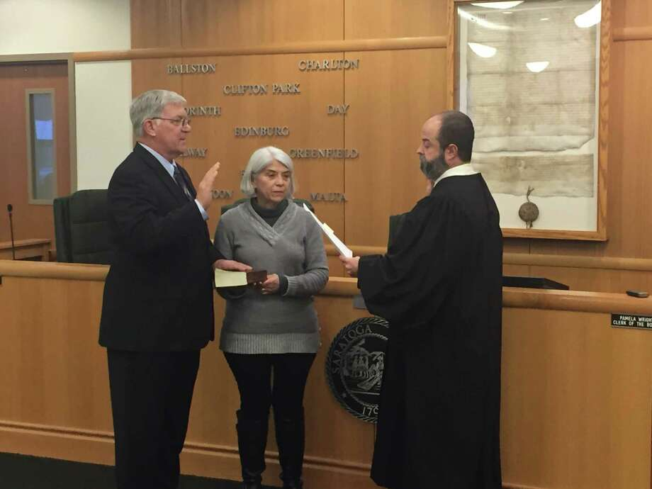 Ed Kinowski, seen with his wife Kathy, was sworn in as chair of the Saratoga County Board of Supervisors on Tuesday. Photo: Saratoga County Board Of Supervisors