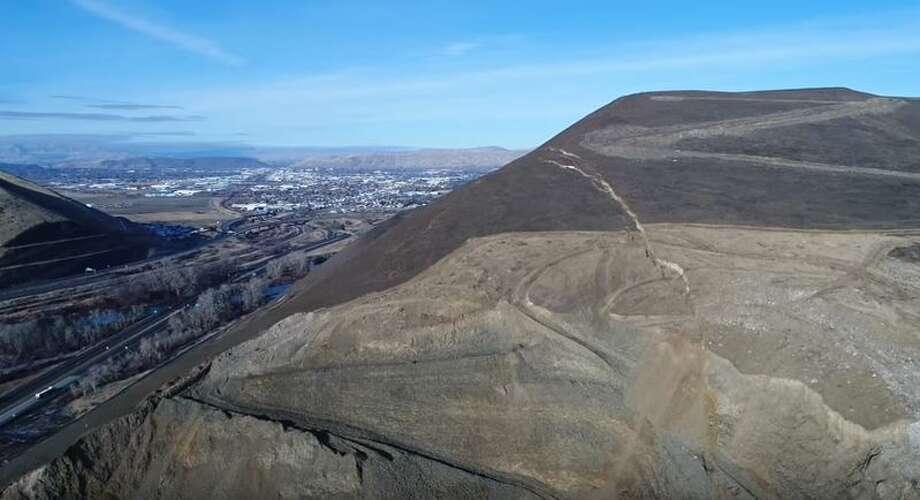 A large crack shows a slow-moving landslide on Rattlesnake Ridge in Yakima. Photo: Screenshot/YouTube