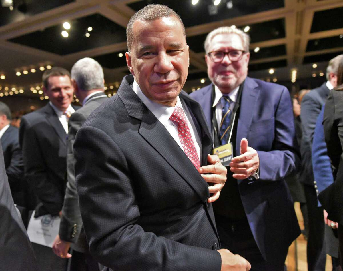 Former NY Gov. David Paterson arrives at the 2018 State of the State Address at the Empire State Plaza Convention Center Tuesday Jan. 3, 2018 in Albany, NY. (John Carl D'Annibale / Times Union)