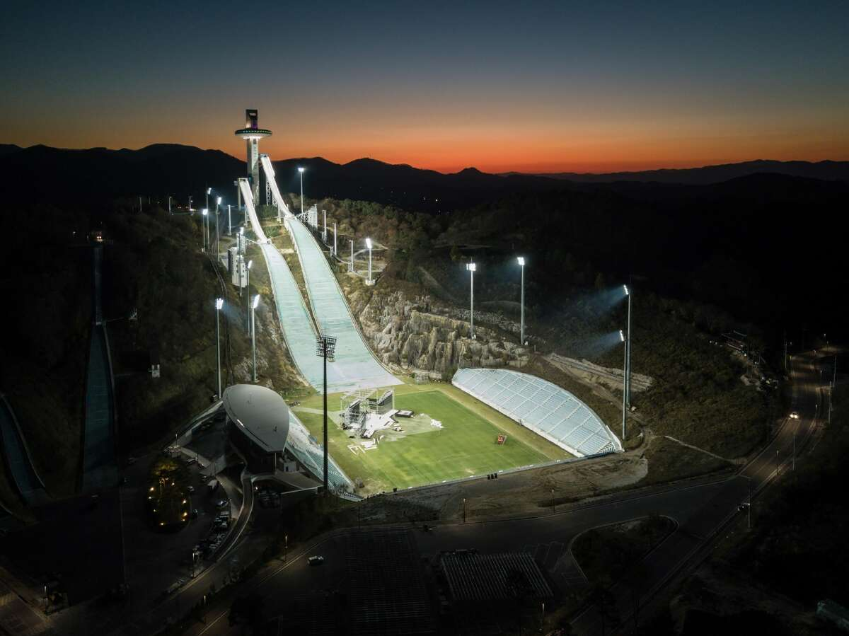 An aerial photo taken on October 30, 2017 shows a general view of the ski jumping venue of the Pyeongchang 2018 Winter Olympic games.