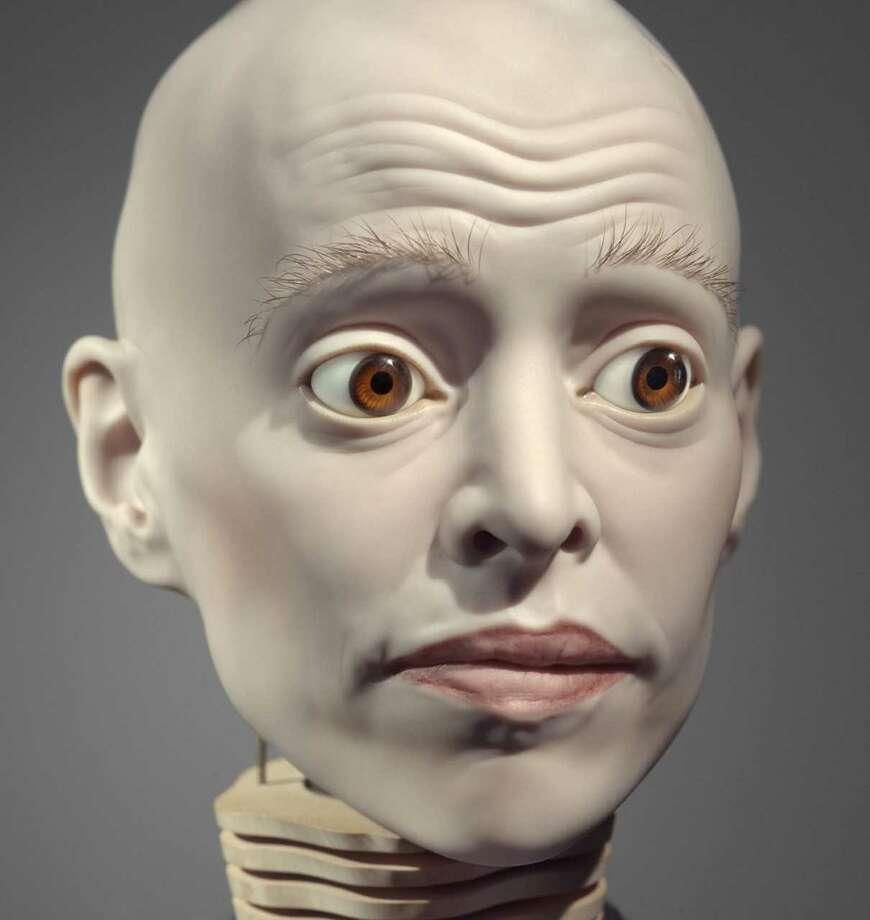 """Elizabeth King """"Untitled""""1994-2004 (porcelain, glass eyes, wood, metal, eye lashes, fiber optics)"""