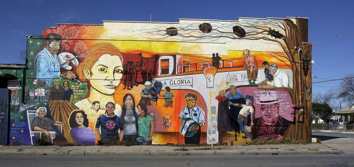 """San Anto Cultural Arts' """"Lideres De La Comunidad"""" murals at the corner of Buena Vista and South Colorado, photographed Jan. 6, 2009."""