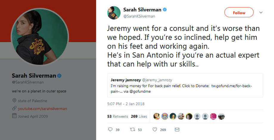 Sarah Silverman befriended Jeremy, who was trolling her on social media, and helped him solve his medial problems. After he went in for a consultation on his back, an MRI showed he has five herniated discs. Silverman passed along the news on Twitter. Photo: Twitter/SarahKSilverman