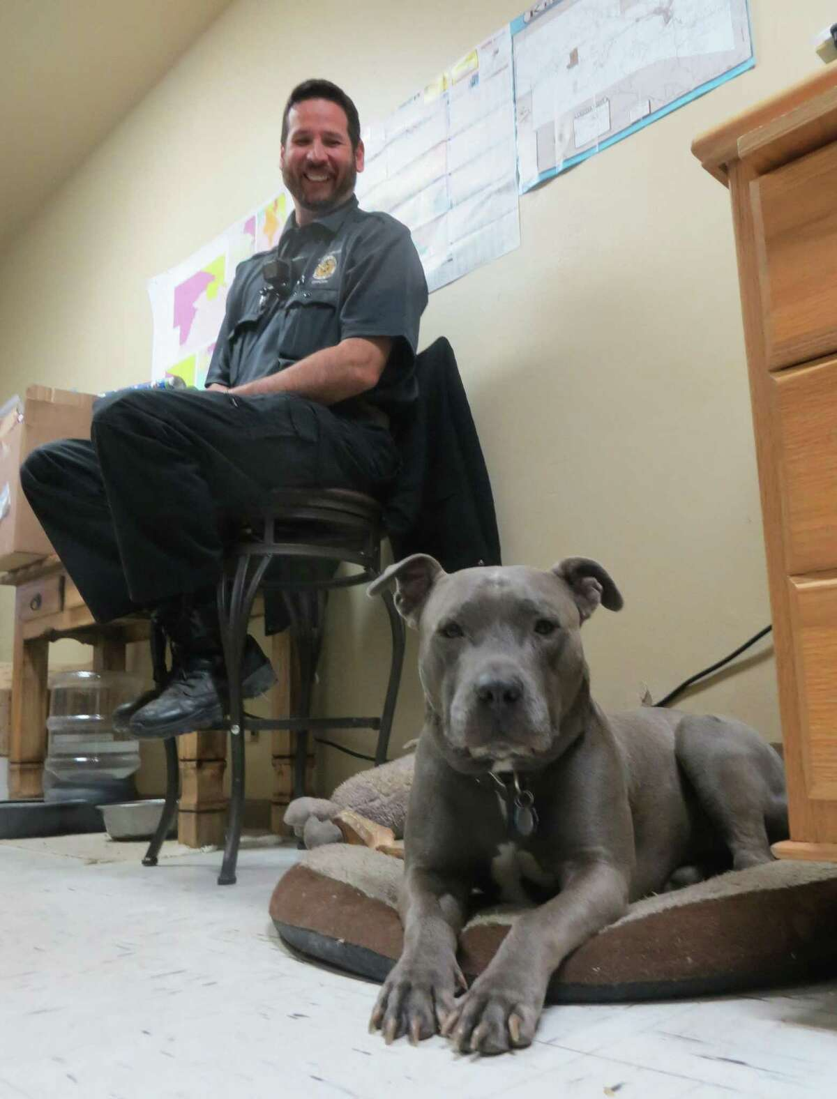 Nelson, who recently retired as canine ambassador for Kerr County, is shown on his pillow in the county animal shelter office as Animal Control Officer Mike Wong looks on.