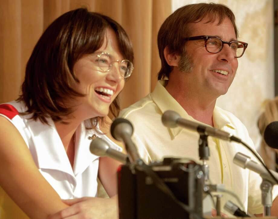 "Emma Stone as Billie Jean King and Steve Carell as Bobby Riggs in ""Battle of the Sexes."" MUST CREDIT: Melinda Sue Gordon, Fox Searchlight Pictures Photo: Melinda Sue Gordon / Melinda Sue Gordon"