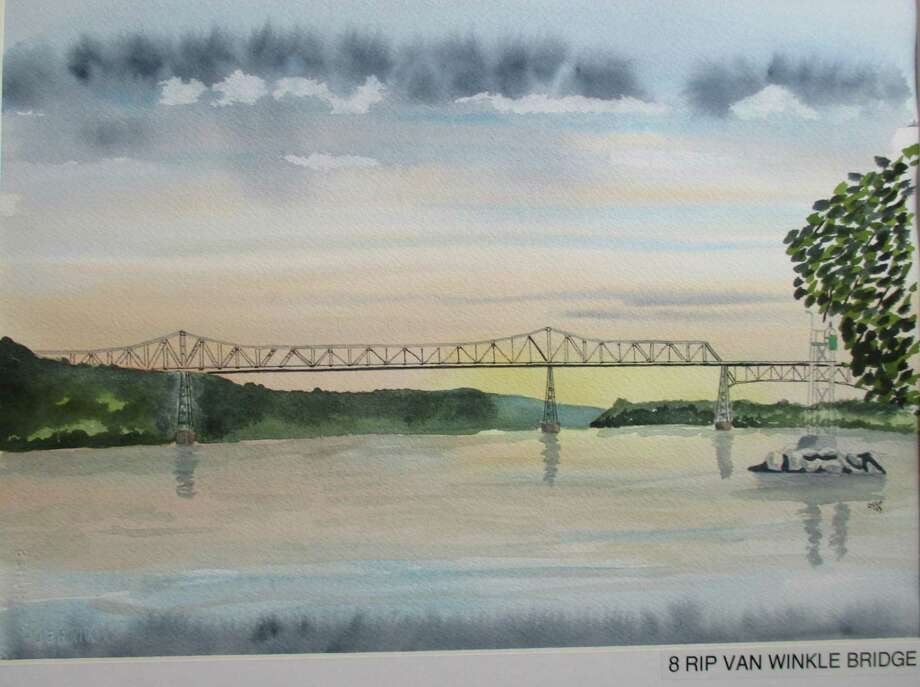 """Watercolor of Rip Van Winkle Bridge by Otto Miranda, [art of """"Exhibition: Bridges Past and Present: Crossing the Hudson River"""" at Hudson Area Library."""