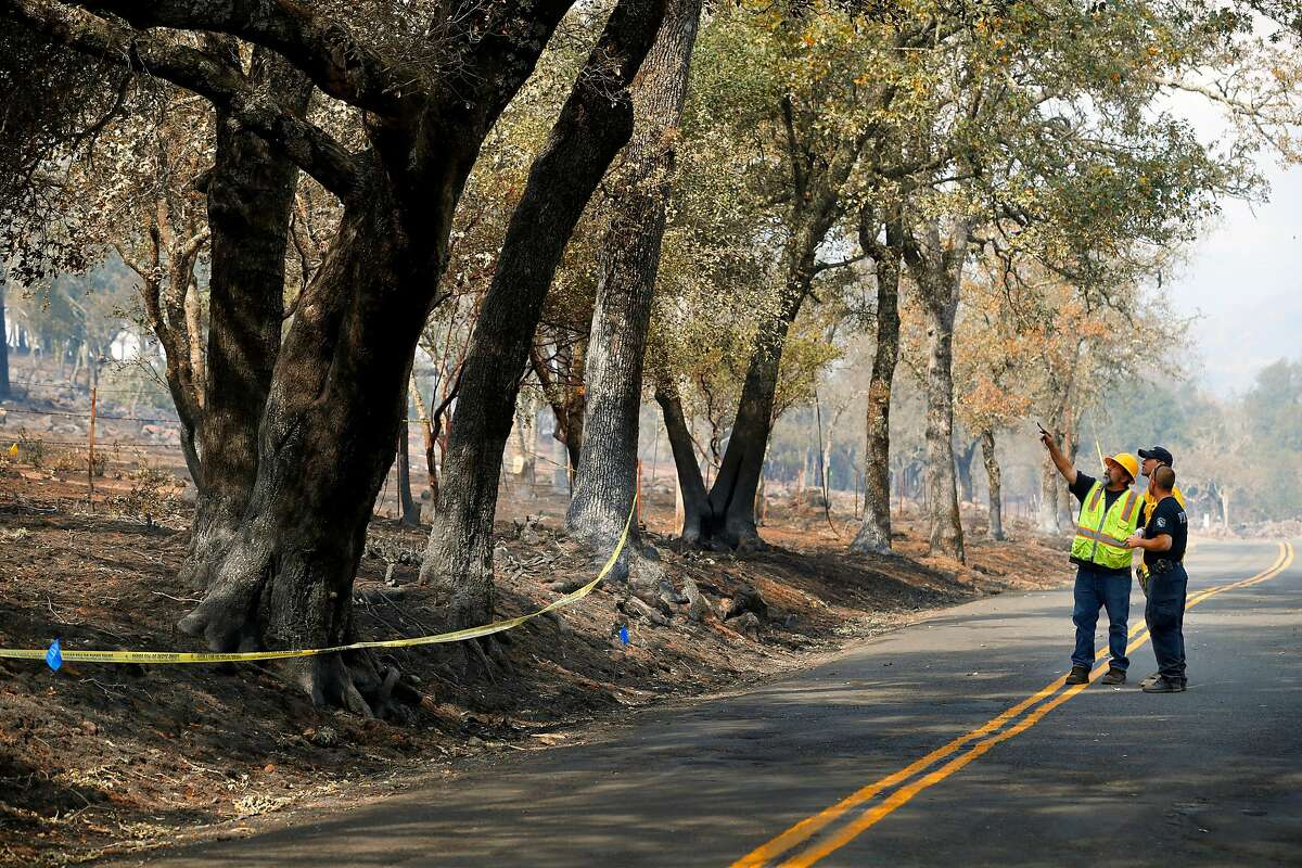 Investigators search for the cause of the Atlas fire, along Atlas Peak rd. east of Santa Rosa, Ca. as seen on Tuesday October 17, 2017.