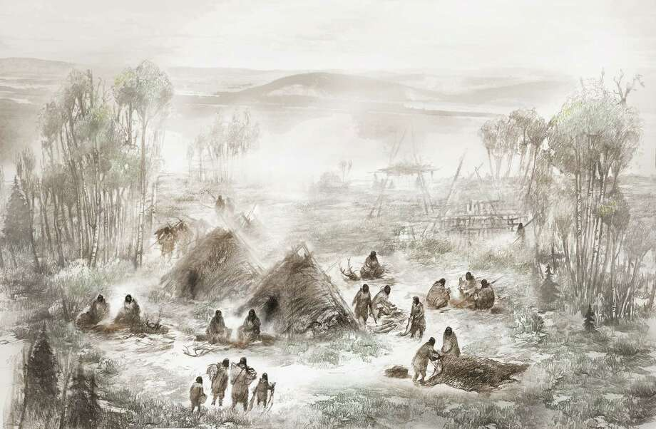 An artist's reconstruction shows the Upward Sun River base camp around the time when the infant was born. Photo: Eric S. Carlson/Ben Potter, HO / Los Angeles Times