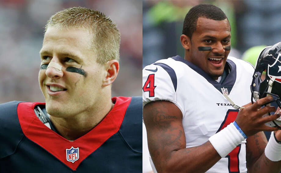 Texans defensive end J.J. Watt and quarterback Deshaun Watson are hard at work trying to come back stronger than ever for the 2018 season after they both suffered season ending injuries in 2017. Photo: Getty