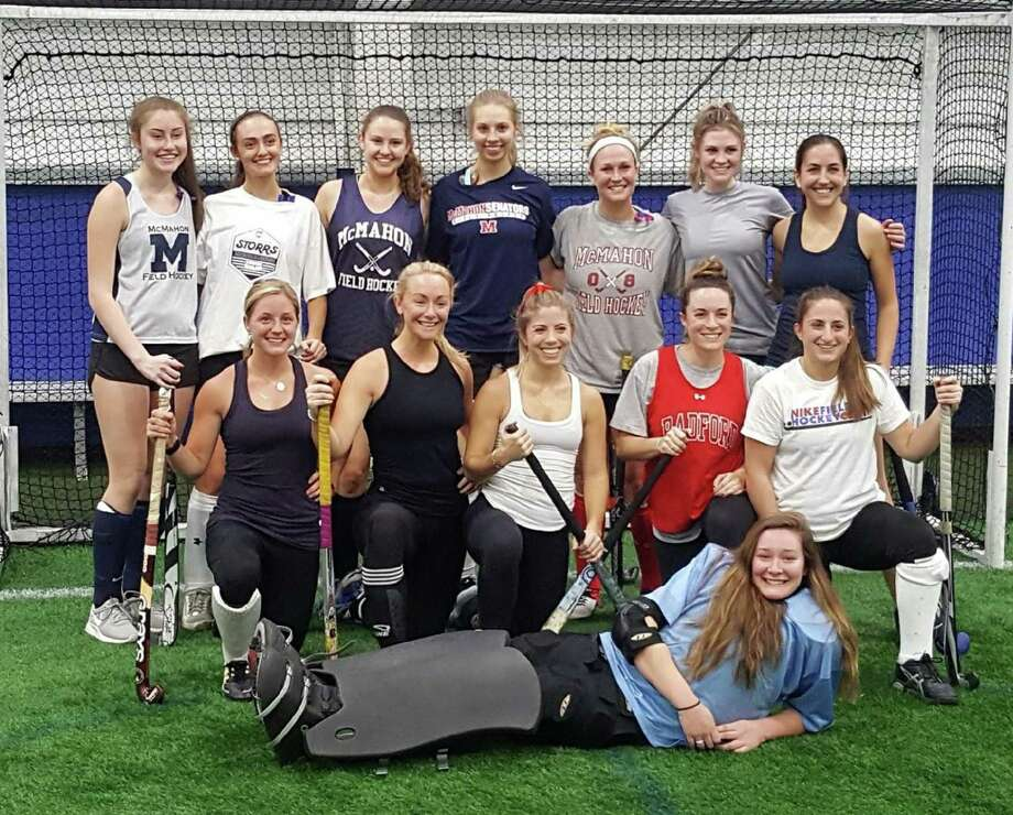 The end of 2017 saw more than a dozen former Brien McMahon field hockey players come together to play in the program's first alumni game at the SoNo Field House in South Norwalk. Those returning included, top row, from left, Emma Curtin (Class of 2017), Rachel Kurtzman ('15), Chelsey Mayerick ('15), Aleigh Fitzpatrick ('15), Rachel Ramsey ('08), Courtney Mayerick ('07), and Alexis Blais ('06); middle row, from left, Madonna Wadolowski ('08), Emily Kuchta ('07), Catie Farrow ('06), Carly Guarcello ('06), Steph Fazio ('07); and bottom row, Keara Meyerson ('17). Some fun facts about the alumni participants: all were former team captains; four went on to play Division I college field hockey (Fazio, Sacred Heart, Guarcello, Hofstra, Courtney Mayerick, UMass, and Wadolowski, Radford); two siblings participated, Courtney ('07) and Chelsey ('15) Mayerick; and three currently live in California and were home for the holidays (Farrow, Guarcello and Courtney Mayerick). Photo: Contributed Photo / Hearst Connecticut Media / Norwalk Hour