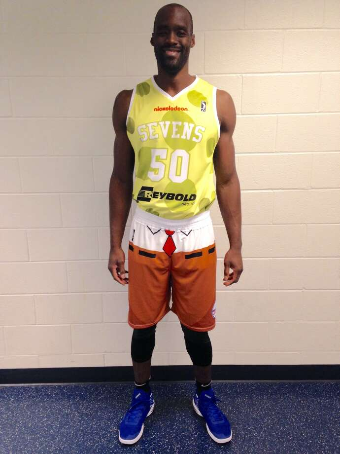 Source: NBA G LeagueEmeka Okafor models the SpongeBob uniforms the Delaware 87ers, the 76ers affiliate, will be wearing for Nickelodeon Night Jan. 3. Photo: NBA G-League