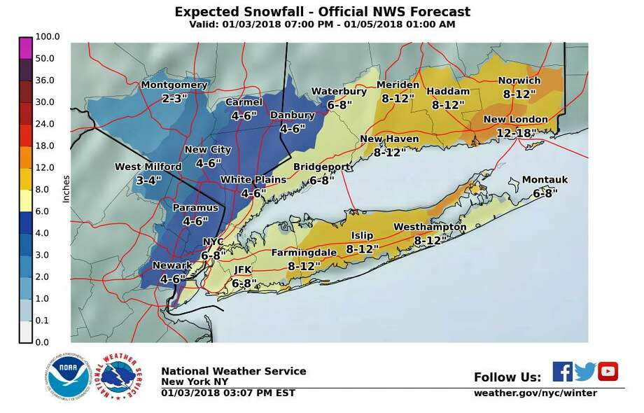 An updated forecast of the expected snow for Fairfield County that is expected to begin to fall in Connecticut early morning on Jan. 4, 2018. Photo: Contributed Photo / National Weather Story / Contributed Photo / Connecticut Post Contributed